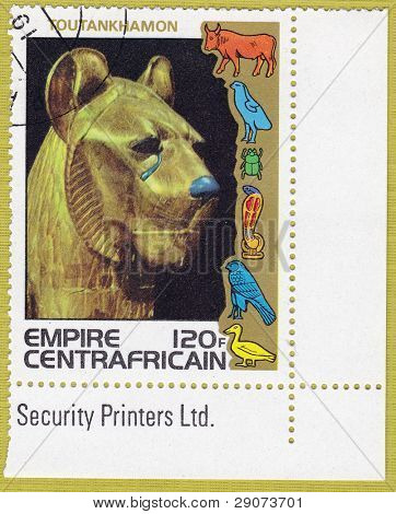 CENTRAFRICAIN - CIRCA 1978: A stamp printed in The Central African Empire showing the image of a sculpture of a lion, series is devoted to Egyptian Pharaoh Tutankhamun, circa 1978
