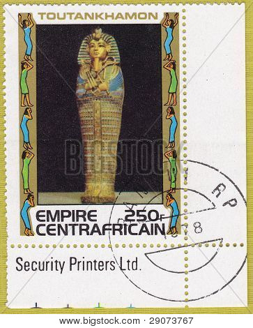 CENTRAFRICAIN - CIRCA 1978: A stamp printed in The Central African Empire showing the image of a sarcophagus, series is devoted to Egyptian Pharaoh Tutankhamun, circa 1978
