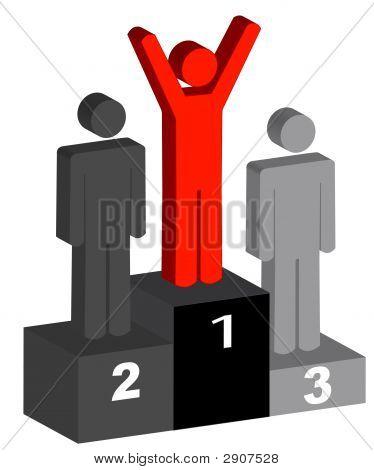 Stick Men With Winner On Podium