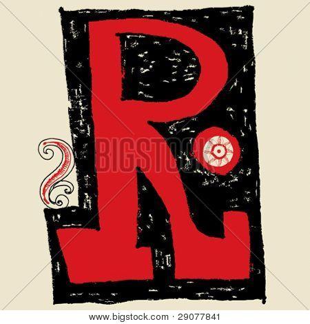 hand drawn alphabet, doodle R