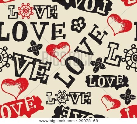 hand drawn love pattern
