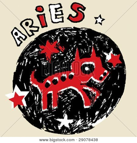 naive horoscope, hand drawn sign of the zodiac aries