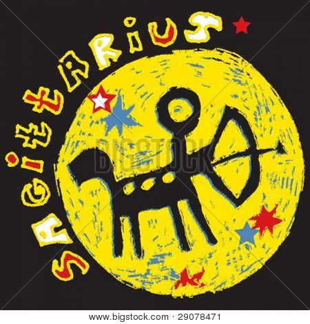 naive horoscope, hand drawn sign of the zodiac sagittarius