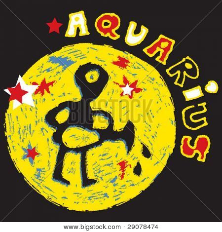naive horoscope, hand drawn sign of the zodiac aquarius