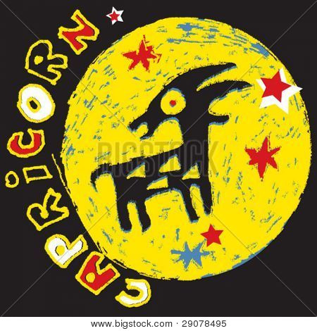 naive horoscope, hand drawn sign of the zodiac capricorn
