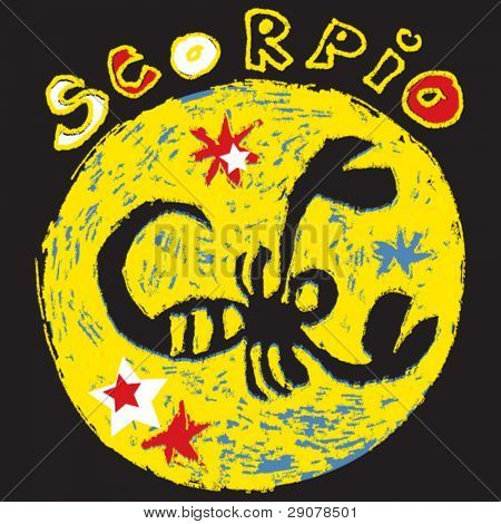naive horoscope, hand drawn sign of the zodiac scorpio