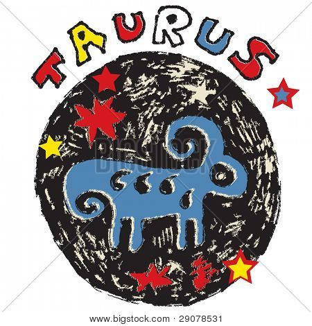 hand drawn sign of the zodiac taurus isolated on white background