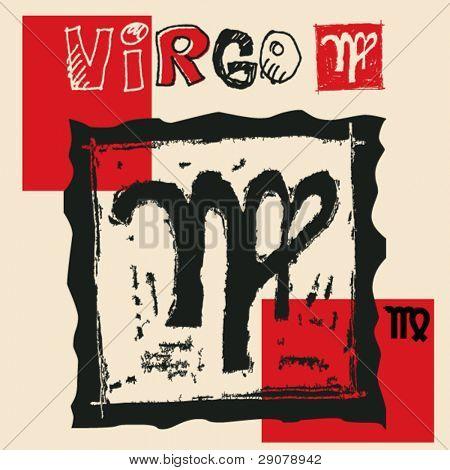 Постер, плакат: Уголь древесный гороскоп рука нарисованные знак зодиака Дева, холст на подрамнике