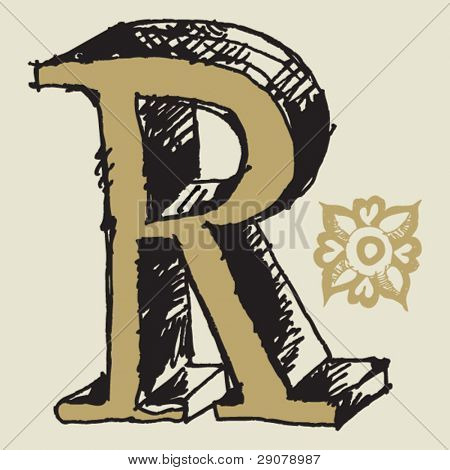 naive 3D alphabet, hand drawn letter R