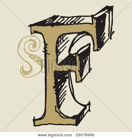 naive 3D alphabet, hand drawn letter F
