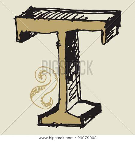 naive 3D alphabet, hand drawn letter T