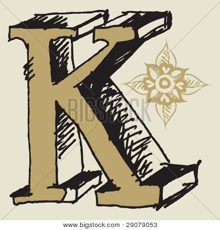 naive 3D alphabet, hand drawn letter K