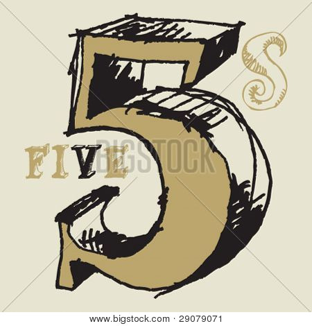 naive 3D numerals, hand drawn number five