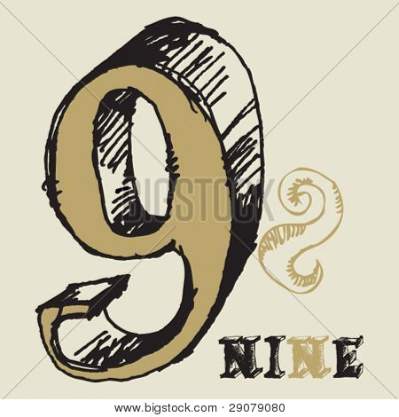 naive 3D numerals, hand drawn number nine