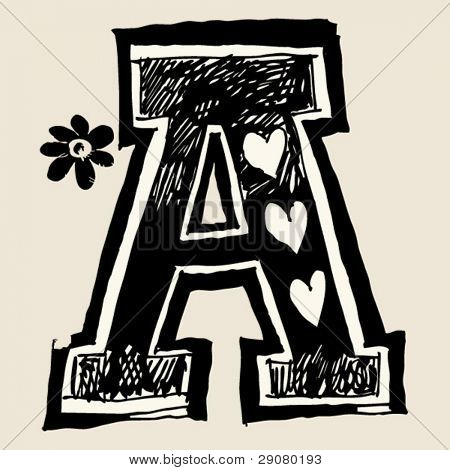 charcoal alphabet, doodle A