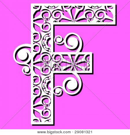 openwork alphabet, letter F