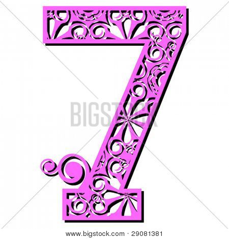 openwork numerals, number seven