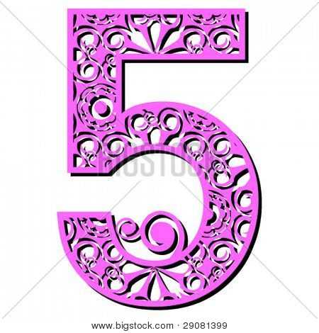 openwork numerals, number five