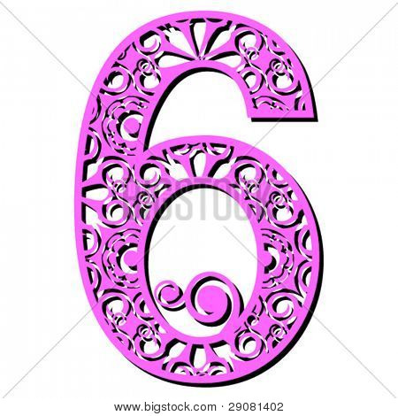 openwork numerals, number six