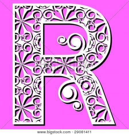 openwork alphabet, letter R