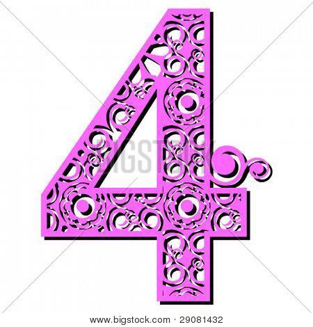 openwork numerals, number four