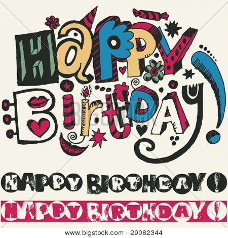 """Happy Birthday"" doodle inscription"