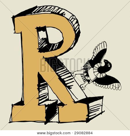 grotesque ABC, scribble letter R