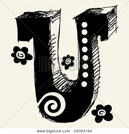 funny vector contre-jour ABC, hand drawn letter U