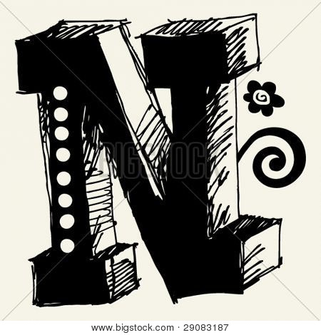 funny vector contre-jour ABC, hand drawn letter N