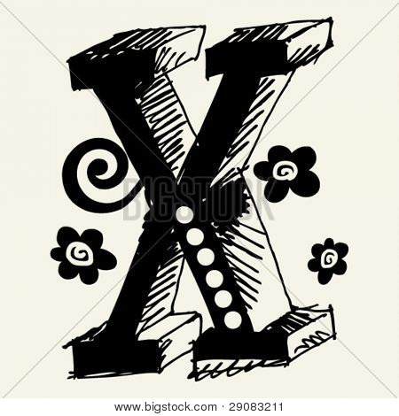 funny vector contre-jour ABC, hand drawn letter X