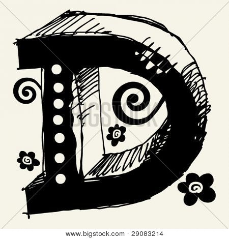 funny vector contre-jour ABC, hand drawn letter D