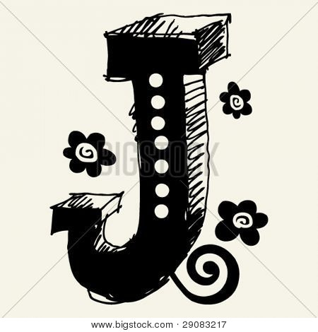 funny vector contre-jour ABC, hand drawn letter J