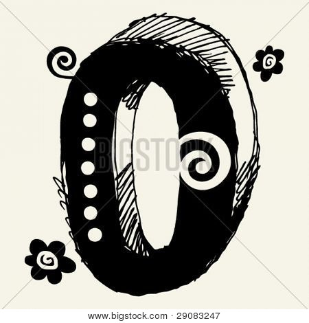 funny vector contre-jour ABC, hand drawn letter O