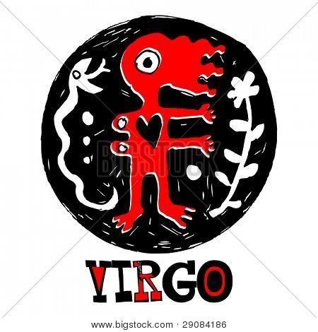crazy zodiac, doodle Virgo isolated on white background