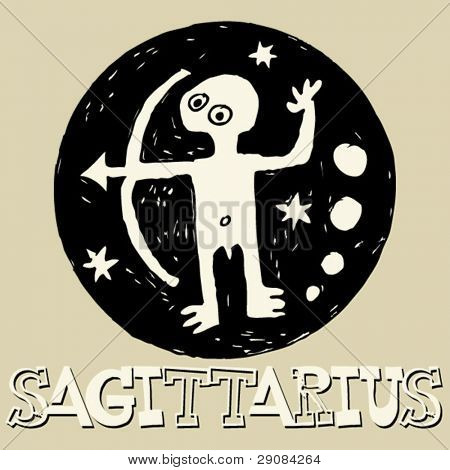 crazy horoscope, hand drawn sign of the zodiac Sagittarius