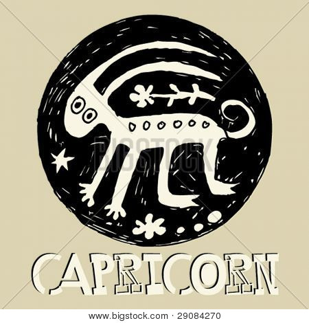 crazy horoscope, hand drawn sign of the zodiac Capricorn