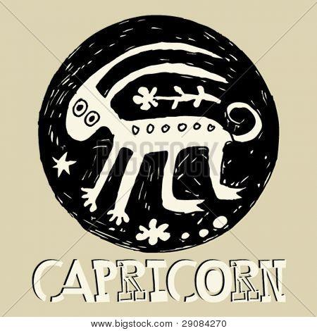 crazy horoscope, hand drawn sign of the zodiac Capricorn
