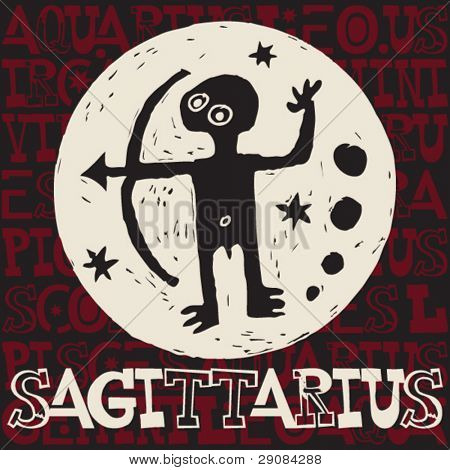 crazy horoscope doodles, sign of the zodiac sagittarius