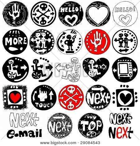 hand drawn naive icons