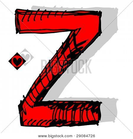 naive childish abc, hand drawn letter Z isolated on white background