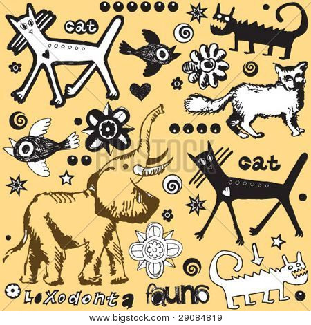 crazy doodle set, hand drawn design elements