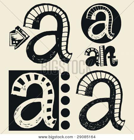 scribble alphabet, crazy doodle A