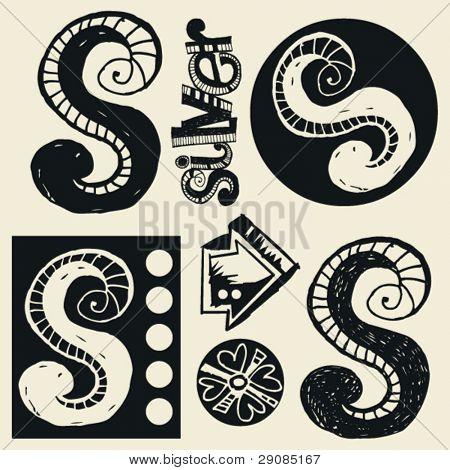 scribble alphabet, crazy doodle S