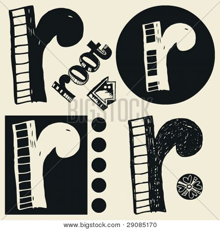 Gekritzel Alphabet verrückt doodle r