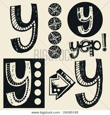 scribble alphabet, crazy doodle Y