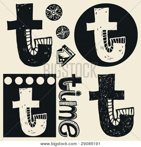scribble alphabet, crazy doodle T