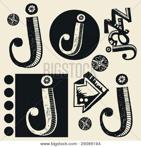 scribble alphabet, crazy doodle J