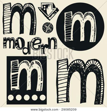 scribble alphabet, crazy doodle M