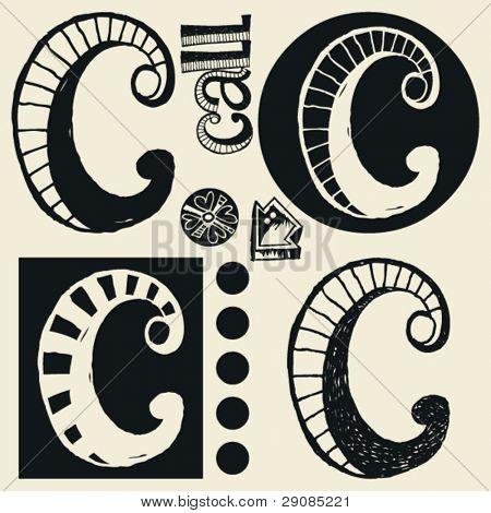 scribble alphabet, crazy doodle C
