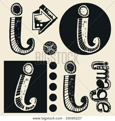 scribble alphabet, crazy doodle I